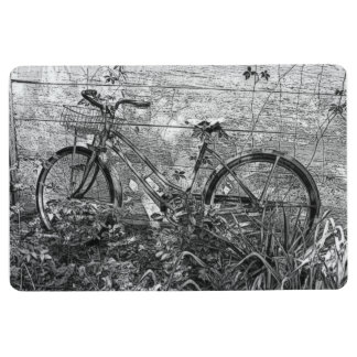 Black White Vintage Bicycle Sketch Mat Rug by mcfu