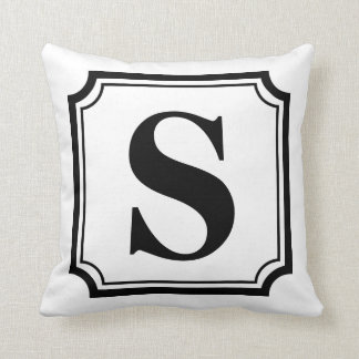 Black & White Vintage Border Monogram Pillow Throw Cushion