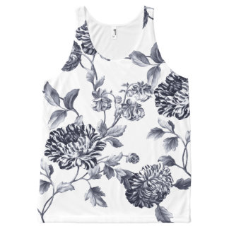 Black & White Vintage Botanical Floral Toile No.2 All-Over Print Singlet
