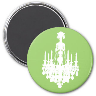 Black & White Vintage Chandelier Graphic 7.5 Cm Round Magnet
