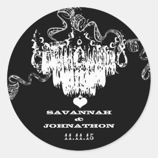Black & White Vintage Chandelier Wedding Round Sticker