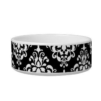 Black White Vintage Damask Pattern 1 Bowl