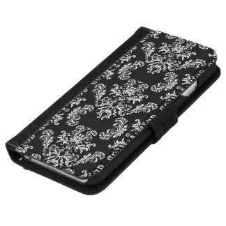 Black White vintage damask pattern iPhone 6 Wallet Case
