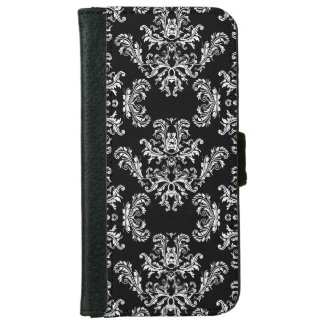 Black White vintage damask pattern iPhone 6 Wallet Case