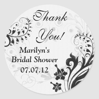 Black White Vintage Floral Bridal Shower Thank You Round Sticker