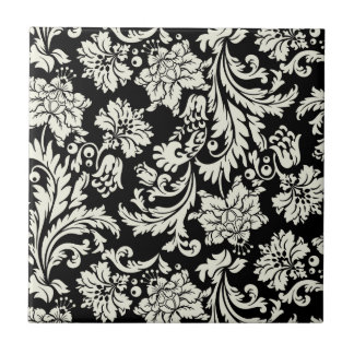Black & White Vintage Floral Damask  Pattern Ceramic Tile