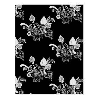 Black & White Vintage Floral Pattern Postcard