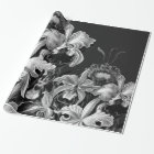 Black&White Vintage Flowers Wrapping Paper