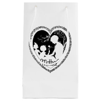Black & White Vintage Mother's Day Heart Small Gift Bag
