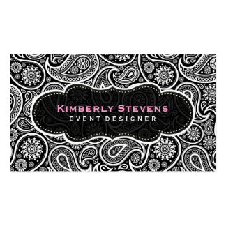 Black & White Vintage Paisley Pattern Business Cards