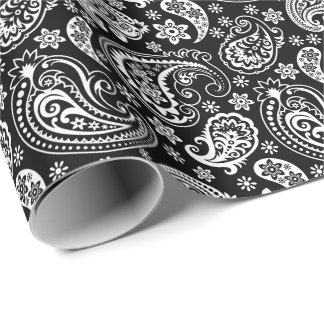 Black & White Vintage Paisley Wrapping Paper