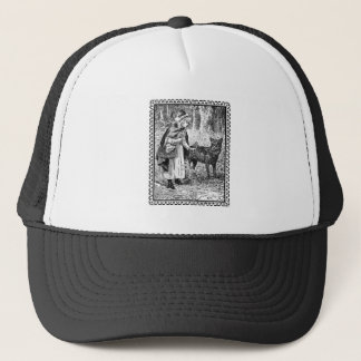 Black White Vintage Red Riding Hood Wolf in Frame Trucker Hat