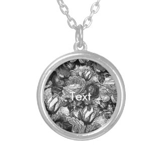 Black&White Vintage Roses Silver Plated Necklace