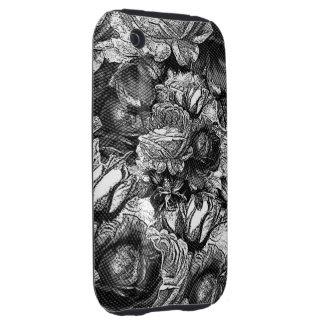 Black&White Vintage Roses Tough iPhone 3 Cases
