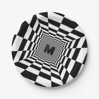 Black & White Visual Illusion, Monogram or Initia Paper Plate