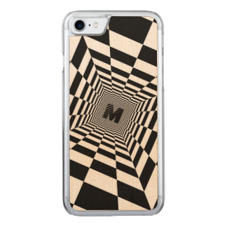 Black & White Visual Illusion, Monogram or Initial Carved iPhone 8/7 Case
