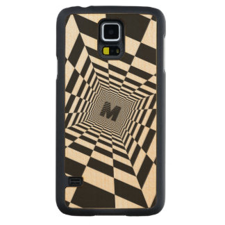 Black & White Visual Illusion, Monogram or Initial Carved Maple Galaxy S5 Case