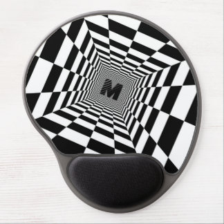 Black & White Visual Illusion, Monogram or Initial Gel Mouse Pad