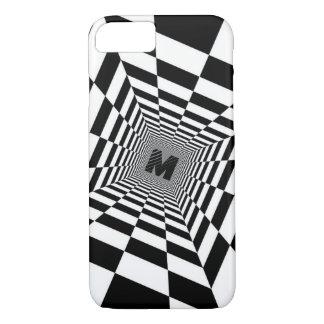 Black & White Visual Illusion, Monogram or Initial iPhone 8/7 Case