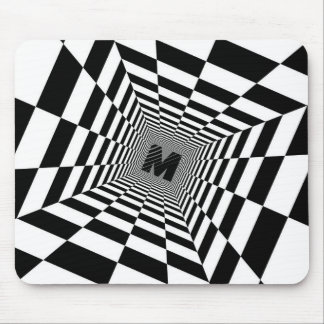 Black & White Visual Illusion, Monogram or Initial Mouse Pad