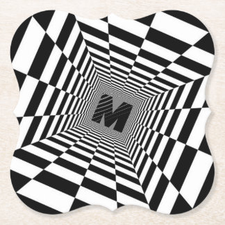 Black & White Visual Illusion, Monogram or Initial Paper Coaster