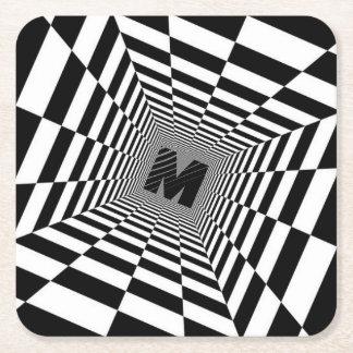 Black & White Visual Illusion, Monogram or Initial Square Paper Coaster