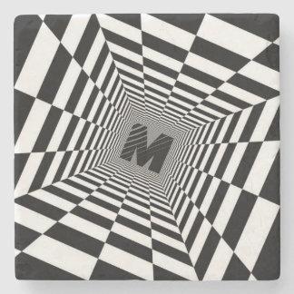 Black & White Visual Illusion, Monogram or Initial Stone Coaster