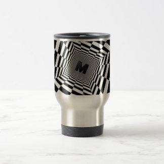 Black & White Visual Illusion, Monogram or Initial Travel Mug