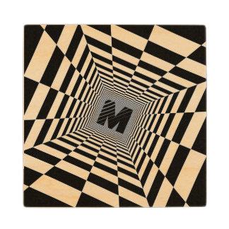 Black & White Visual Illusion, Monogram or Initial Wood Coaster