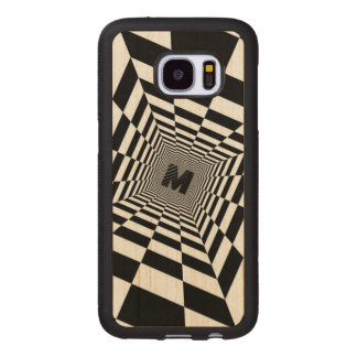 Black & White Visual Illusion, Monogram or Initial Wood Samsung Galaxy S7 Case