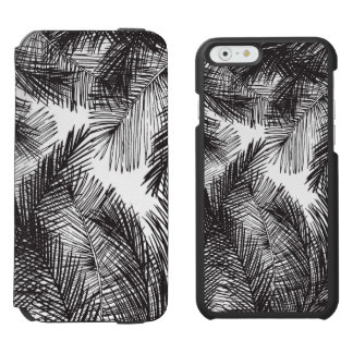 Black white watercolor hand painted palm trees incipio watson™ iPhone 6 wallet case