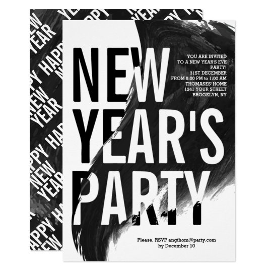Black, white watercolor New Year's 2018 Eve party Card