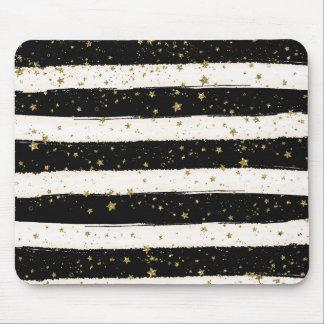 Black White Watercolor Stripes Gold Glitter Stars Mouse Pad