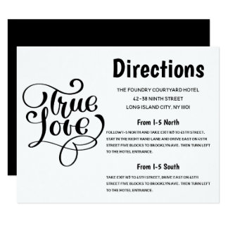 Black & White Wedding Directions True Love Party Card