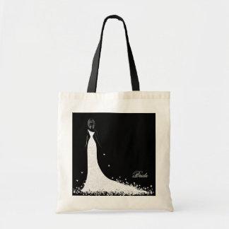 Black & White Wedding Dress & Vintage Lace Budget Tote Bag