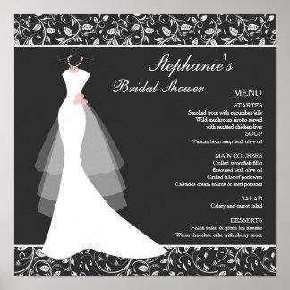 Black white wedding gown, damask Menu Poster