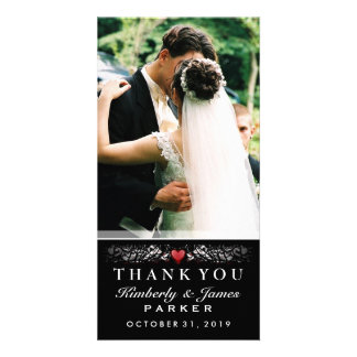 Black & White Wedding Heart Photo Thank You Card Customized Photo Card