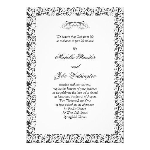 Black & White Wedding Invitation Template 13 Cm X 18 Cm