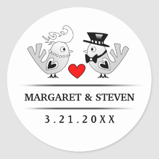 Black & White Wedding Love Birds Red Heart Classic Round Sticker