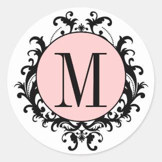 Black White Wedding Monogram M Damask Pink Label Stickers
