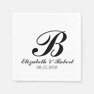 Black White Wedding Monogram Paper Napkin