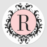 Black White Wedding Monogram R Damask Pink Label Round Sticker