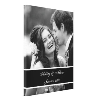 Black White Wedding Photo Personalized Canvas Prints