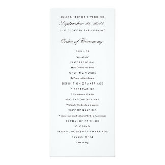 Black & White Wedding Program Template 10 Cm X 24 Cm Invitation Card