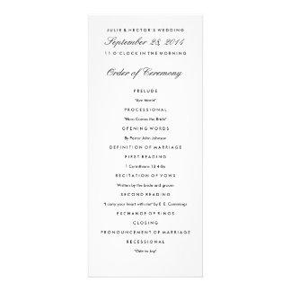 Black White Wedding Program Template Invite