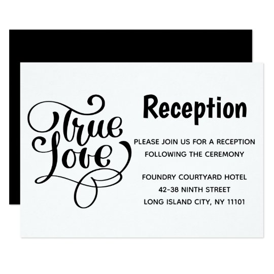 Black & White Wedding Reception True Love Card