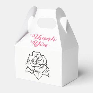 Black White Wedding Rose Flower Pink Thank You Favour Box