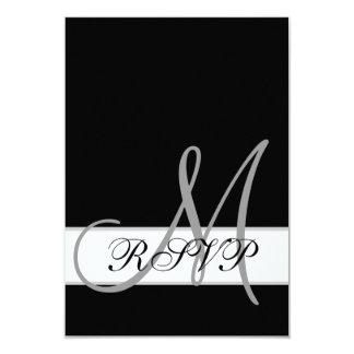 Black White Wedding RSVP Card with Monogram 9 Cm X 13 Cm Invitation Card