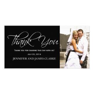 Black White Wedding Thank You Photo Cards