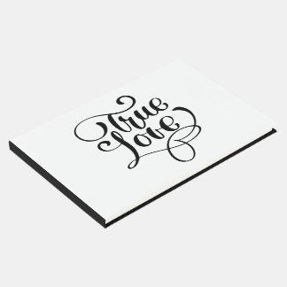 """Black & White Wedding True Love Typography Guest Book"